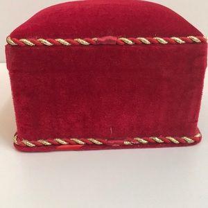 Lindy Bowman Storage & Organization - Lindy Bowman Red Velvet W Gold Trim Cushioned Box